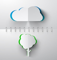 Paper Cut Cloud and Tree on Notebook Background vector