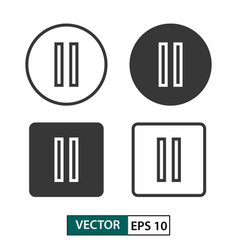 pause button icon set isolated on white eps 10 vector image
