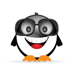 Penguin funny with sunglasses vector