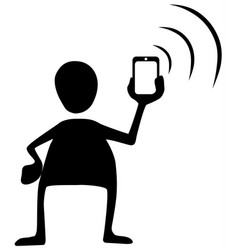 phone signal send silhouette symbol vector image