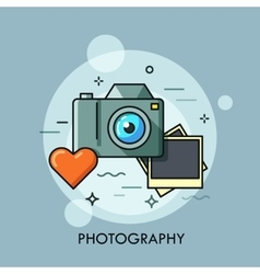 Photo camera printed photos and heart vector
