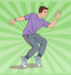 Pop art happy young hip hop dancer guy dancing vector
