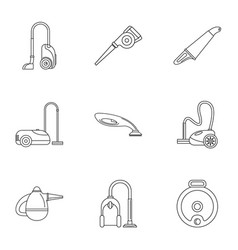 professional vacuum cleaner icon set outline vector image