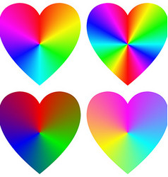 Rainbow gradient happy heart icon template set vector image
