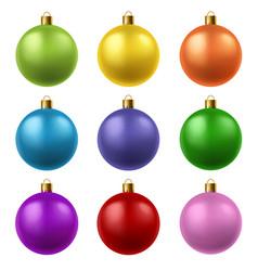 realistic christmas balls colorful glass xmas vector image