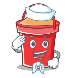 sailor bucket character cartoon style vector image