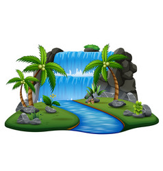Scene with waterfall and river background vector