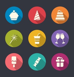 set flat icons party objects with long shadows vector image