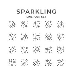 set line icons sparkling and twinkling vector image