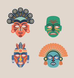Set of colored ethnic masks vector