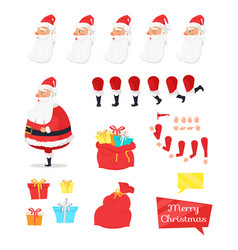 Set of different icons for merry xmas from santa vector