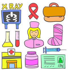 Set of medical object doodles vector