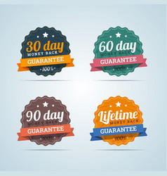 Set of money back guarantee badges in flat style vector image