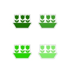 Set of paper stickers on white background tulips vector
