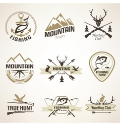 set vintage hunting and fishing emblems and vector image