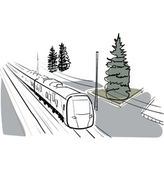 Sketch and watercolor train vector