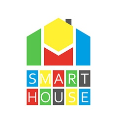 Smart house colored logo abstract buiding vector