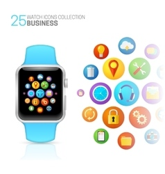 Smart watch with blue wristband vector
