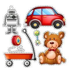 Sticker set of different toys vector