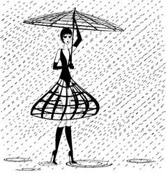 Strange girl in the rain vector