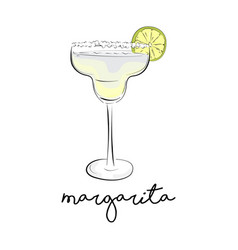 Summer cocktail margarita alcohol drink vector
