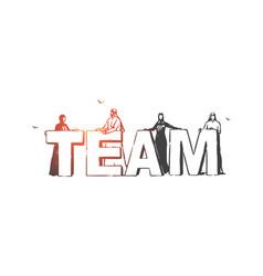 teamwork cooperation partnership concept sketch vector image