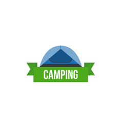 tent and ribbon with camping headline vector image