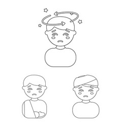 The sick man outline icons in set collection for vector