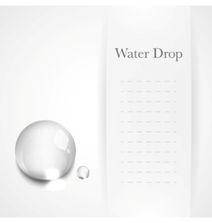 Transparent water drop on light gray background vector image