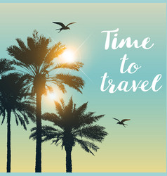 Travel background with palms vector