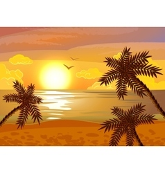 Tropical beach sunset poster vector