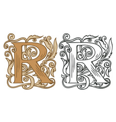 Vintage initial letter r with baroque decoration vector