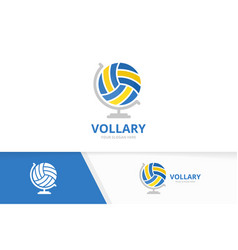 Volleyball and globe logo combination play vector