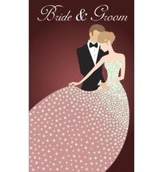 Wedding invitation with bride and groom vector image