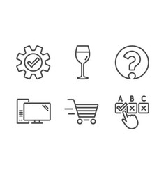 Wine glass delivery shopping and service icons vector