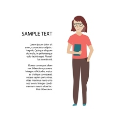 Woman holding book or tablet sketch vector