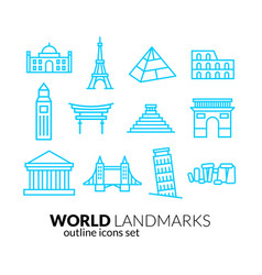 World landmarks outline icons set vector