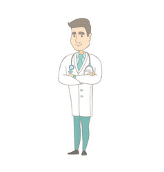 young caucasian confident doctor with folded arms vector image