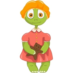 Funny Turtle Baby Girl vector image vector image