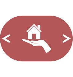 home on the hand icon vector image
