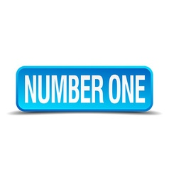 number one blue 3d realistic square isolated vector image vector image