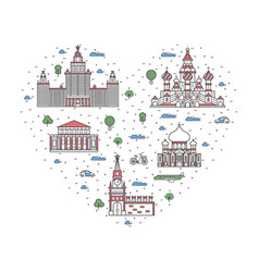 i love moscow poster in linear style vector image vector image