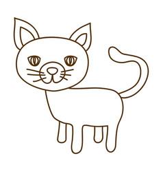monochrome thin contour of cat vector image