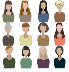 Set of abstract women vector image vector image