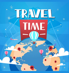 time to travel poster with air balloons over vector image vector image
