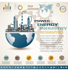 industry infographics template set of industrial vector image