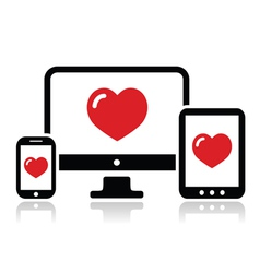 Responsive design for web computer screen icon vector image