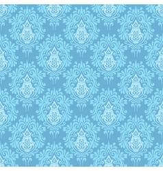 Blue damask seamless pattern background vector image vector image