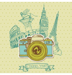 Lovely Card - Vintage Camera vector image vector image