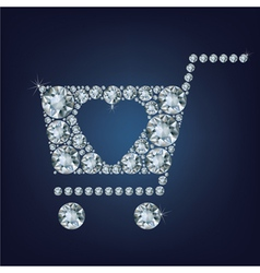 Shopping basket sign made a lot of diamonds vector image vector image